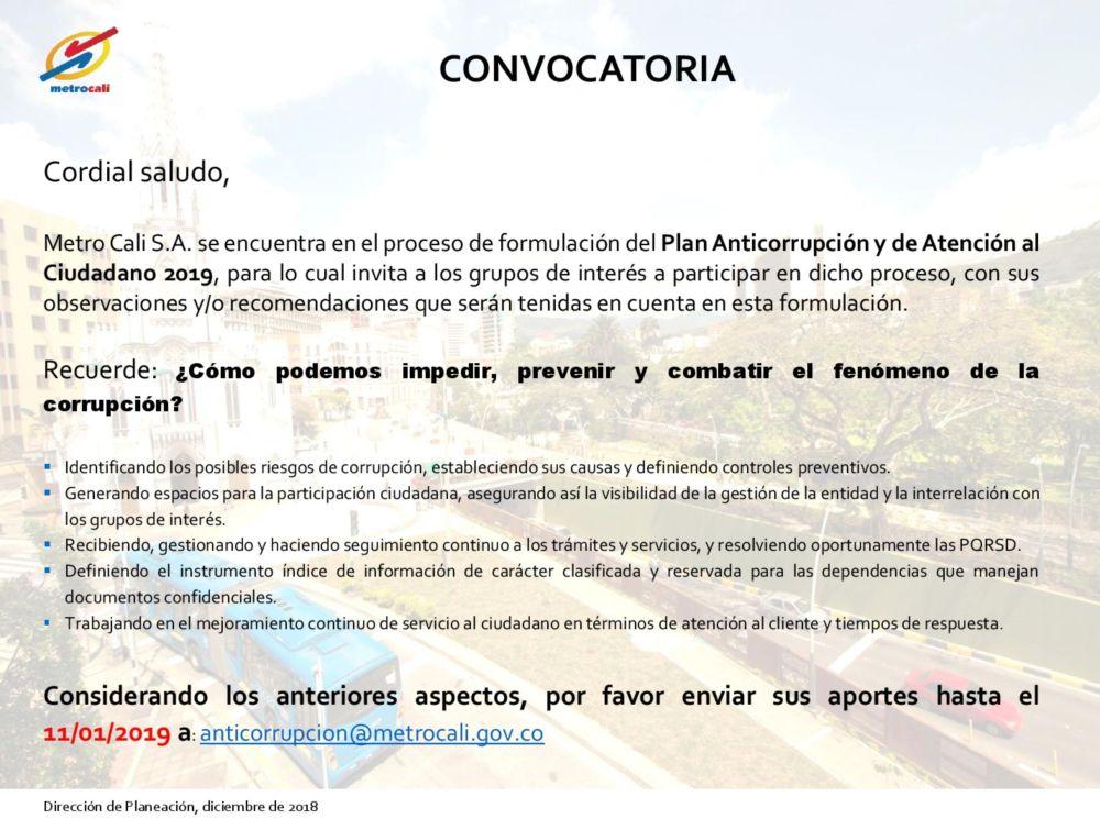 CONVOCATORIA - Plan Anticorrupcion y Atencion Al Ciudadano-2018